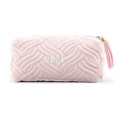 Small Personalized Velvet Quilted Makeup Bag for Women- Blush Pink
