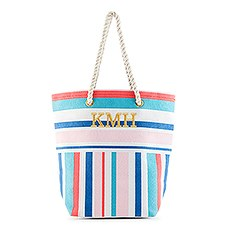 Personalized Monogrammed Cotton Canvas Beach Tote Bag- Bright Stripes