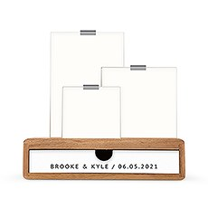 Personalized Wooden Guestbook Drop Box with Glass Picture Frames