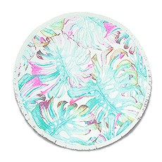 Personalized Round Beach Towel - Tropical Leaves Pattern