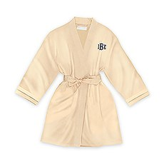 Personalized Junior Bridesmaid Satin Robe With Pockets - Gold