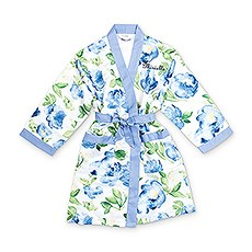 Personalized Junior Bridesmaid Satin Robe with Pockets - Blue Floral
