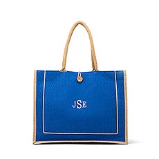 Large Personalized Reusable Fabric Beach Tote Bag - Blue Burlap