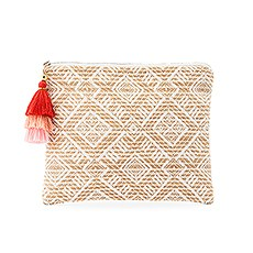 Women's Personalized Geo Tribal Print Makeup Bag - White