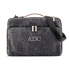 """Personalized 17"""" Canvas Laptop Bag with Cross Strap - Black"""