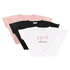 Personalized Bridal Party Tie-Up Wedding Shirt - Squad Script