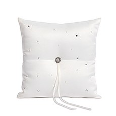 Scattered Pearls & Crystals Square Ring Pillow