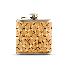 Argyle Diamond Monogram Oak Wrapped Hip Flask