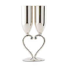 Silver Interlocking Heart Stem Wedding Champagne Flutes