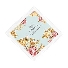 Tea Rose Personalized Handkerchief