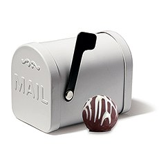 Small White Tin Mailbox Favor Container