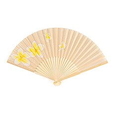 Tropical Fan with Romantic Plumeria Floral Details