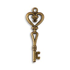 Antique Key Charm Style 2 - Heart Shape