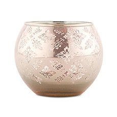 Large Glass Globe Votive Holder With Reflective Lace Pattern - Peach