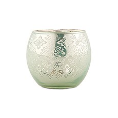 Small Glass Globe Votive Holder With Reflective Lace Pattern - Daiquiri Green