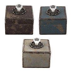 Distressed Vintage Favor Boxes with Crystal Handle