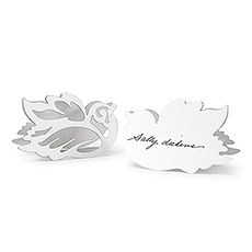 Laser Expressions Love Bird Damask Folded Place Card - White