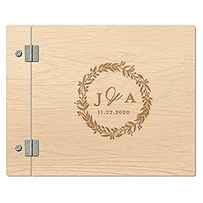 Personalized Wooden Wedding Guest Book - Love Wreath
