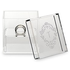 Acrylic Wedding Ring Box - Classic Filigree Etching