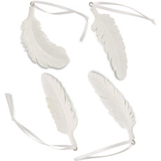 White Resin Feather Ornament Assortment