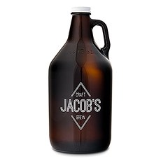Personalized Glass Beer Growler - diamond Emblem Print