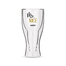 Personalized Double Walled Beer Glass Mr. Nice Print