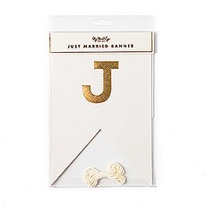 """Gold Foil """"Just Married"""" Pennant Banner"""