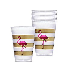Pink Flamingo Frosted Plastic Tumblers