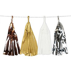 Mixed Metallic Tissue & Foil Tassel Garland - Gold, Silver, Copper, White