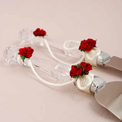 Flower of Love In Romantic Red Wedding Cake Serving Set Accessory
