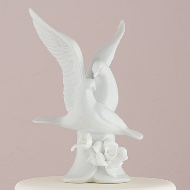 Glazed Porcelain Doves and Flowers Wedding Cake Topper