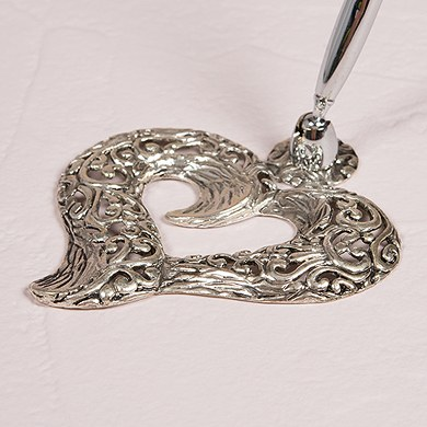Filigree Stylized Heart Wedding Reception Pen Base