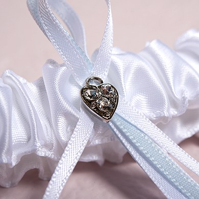 Classic Double Heart Two Piece Bridal toss Wedding Garter Set