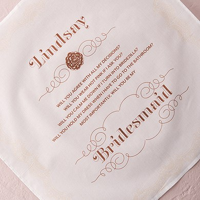 Stylized Lace Bridesmaid Personalized Handkerchief