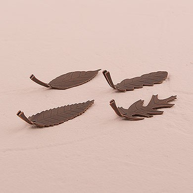 Metal Leaf Shaped Place Card Holders - Bronze Finish