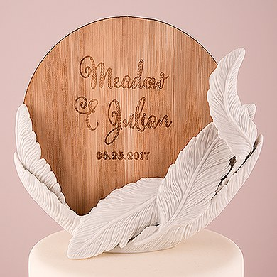 White Feather Porcelain Wedding Cake Topper with Personalized Veneer Disc in Feather Whimsy Design