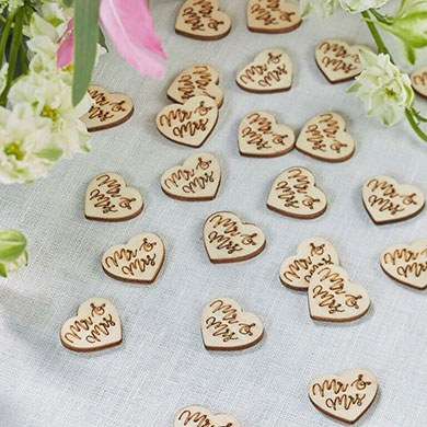Mr & Mrs Wooden  Wedding Table Scatter Confetti