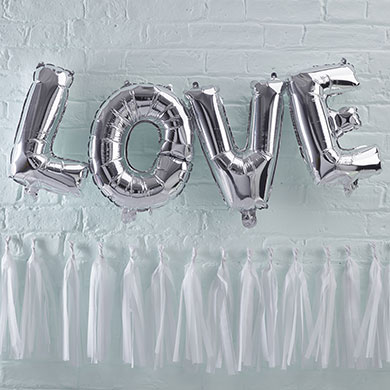 Silver LOVE Balloons Pack