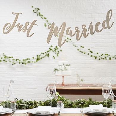 Just Married Wooden Bunting