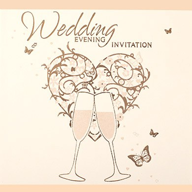 Gold Heart Wedding Evening Invitation Cards - 6 Pack