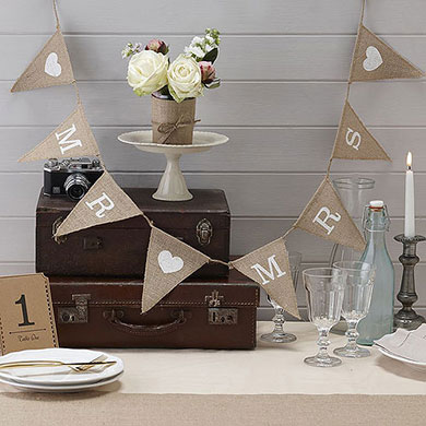 Mr & Mrs Hessian Bunting from Confetti.co.uk