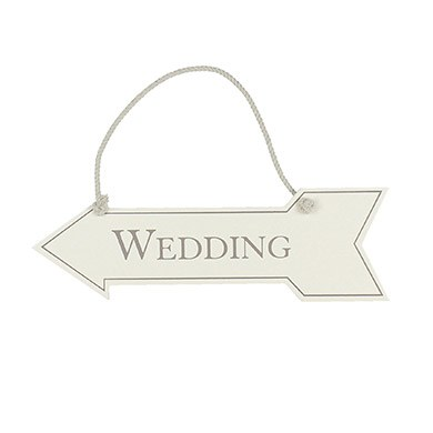 Amore MDF Arrow Hanging Sign   'Wedding'