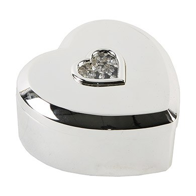 S/Plated Heart Shaped Trinket Box with Stones in center 3