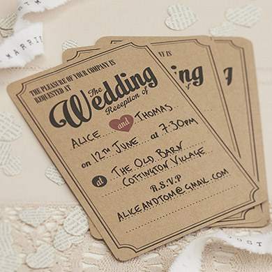 Vintage Affair Wedding Evening Invites   10 Pack