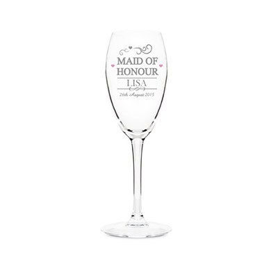 Personalized Maid of Honour Glass Flute