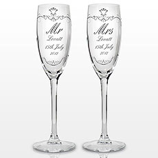 Ornate Swirl Couples Flute Glasses Personalized