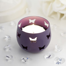 Purple Butterfly Detail Metal Tea Light Candle Holder