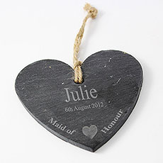 Maid Of Honour Slate Heart Decoration