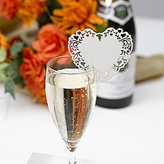 Ivory Vintage Romance Laser Cut Glass Placecard Pack - 10 Pack