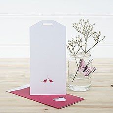 White and Fuchsia Eco Chic Birds Design Large Insert Tag - 10 Pack